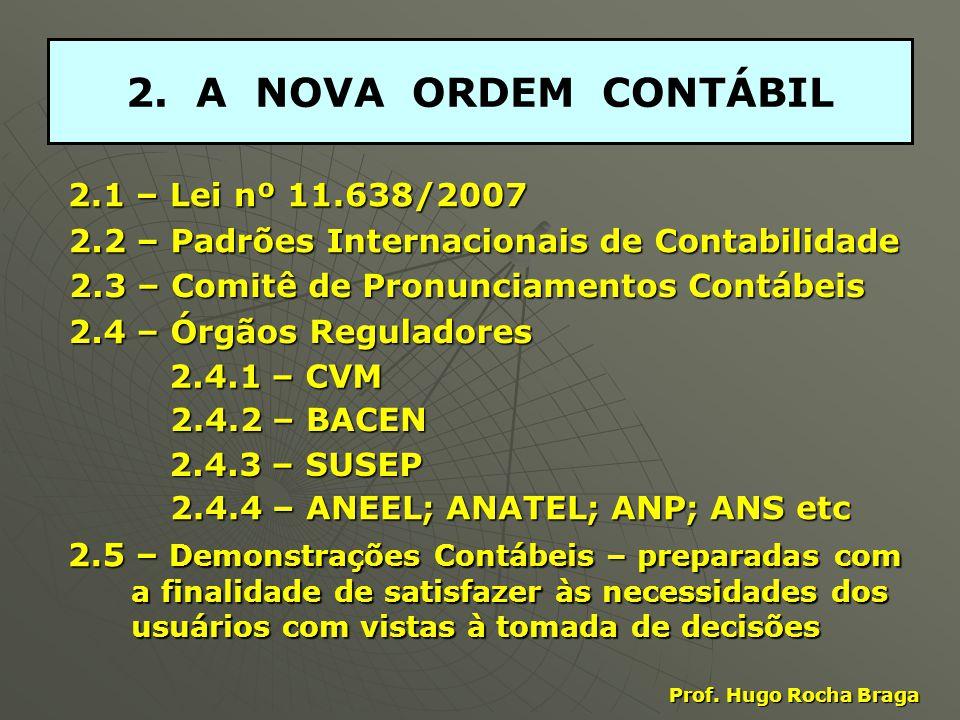2.A NOVA ORDEM CONTÁBIL 2.1 – Lei nº 11.638/2007 Prof.
