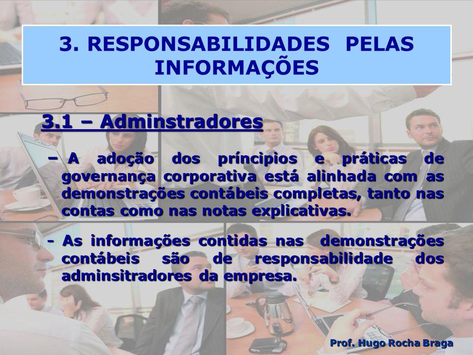 3. RESPONSABILIDADES PELAS INFORMAÇÕES 3.1 – Adminstradores – A adoção dos príncipios e práticas de governança corporativa está alinhada com as demons