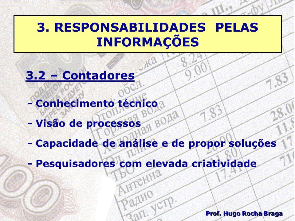 3. RESPONSABILIDADES PELAS INFORMAÇÕES 3.2 – Contadores - Conhecimento técnico - Visão de processos - Capacidade de análise e de propor soluções - Pes