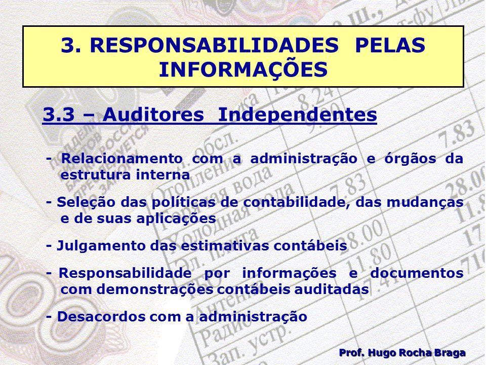 3. RESPONSABILIDADES PELAS INFORMAÇÕES 3.3 – Auditores Independentes - Relacionamento com a administração e órgãos da estrutura interna - Seleção das