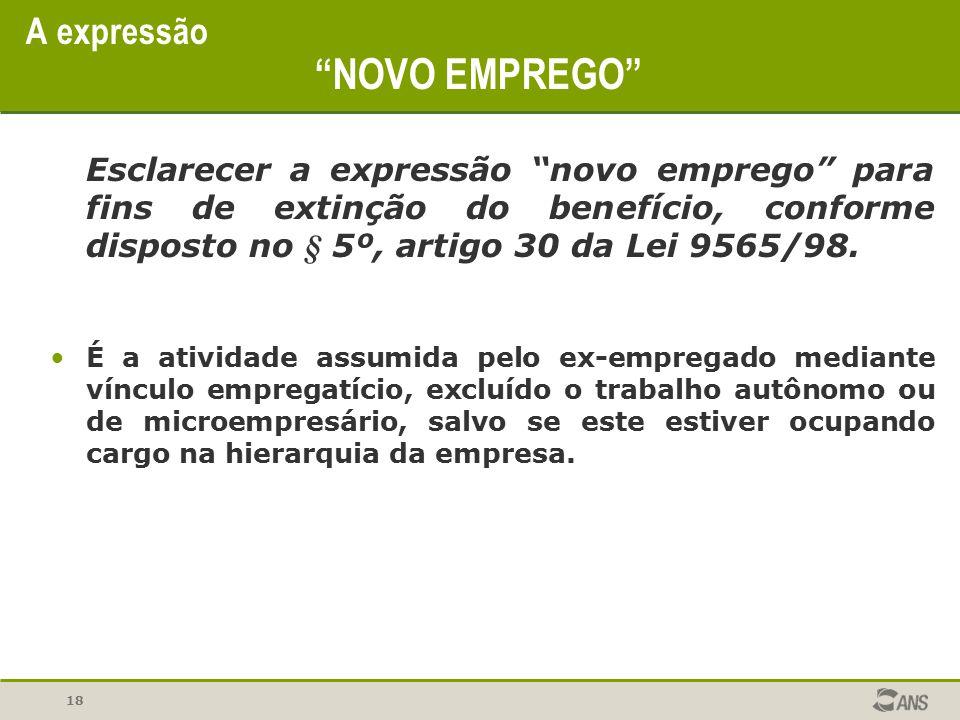 """18 A expressão """"NOVO EMPREGO"""" Esclarecer a expressão """"novo emprego"""" para fins de extinção do benefício, conforme disposto no § 5º, artigo 30 da Lei 95"""