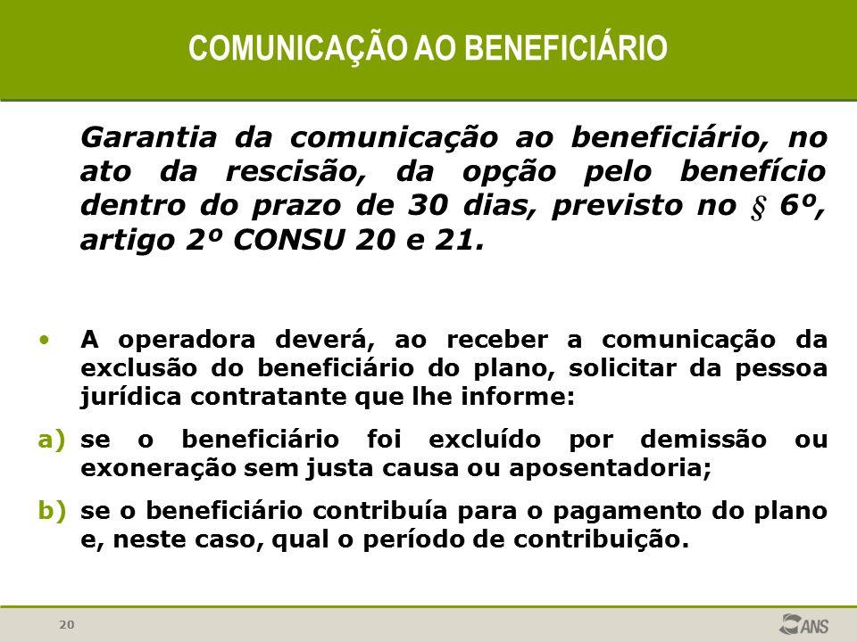 20 COMUNICAÇÃO AO BENEFICIÁRIO Garantia da comunicação ao beneficiário, no ato da rescisão, da opção pelo benefício dentro do prazo de 30 dias, previs