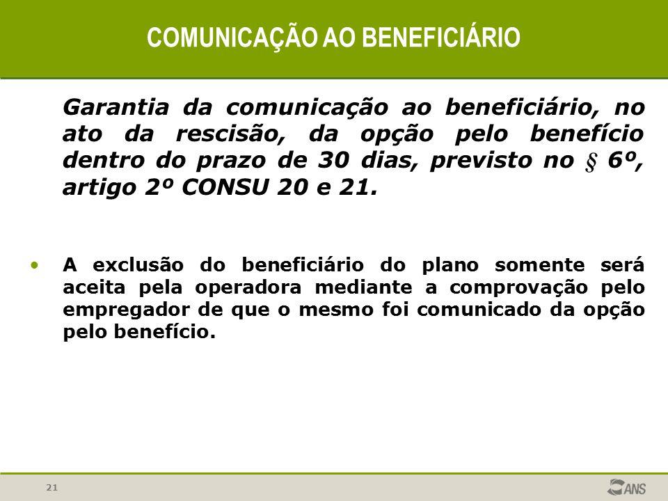 21 COMUNICAÇÃO AO BENEFICIÁRIO Garantia da comunicação ao beneficiário, no ato da rescisão, da opção pelo benefício dentro do prazo de 30 dias, previs