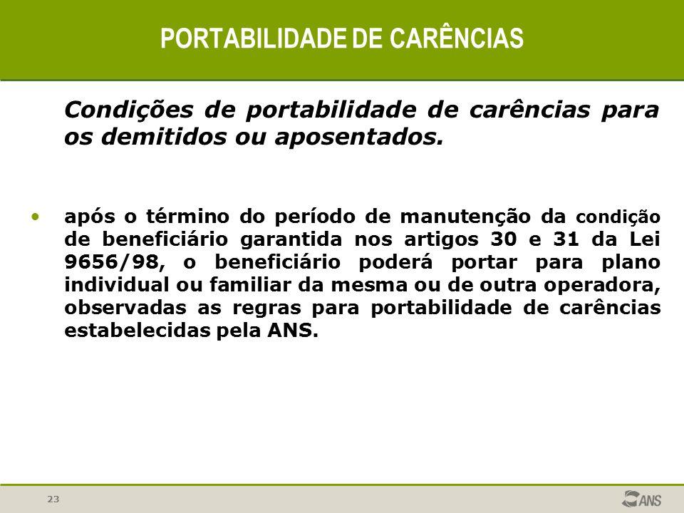 23 PORTABILIDADE DE CARÊNCIAS Condições de portabilidade de carências para os demitidos ou aposentados. após o término do período de manutenção da con