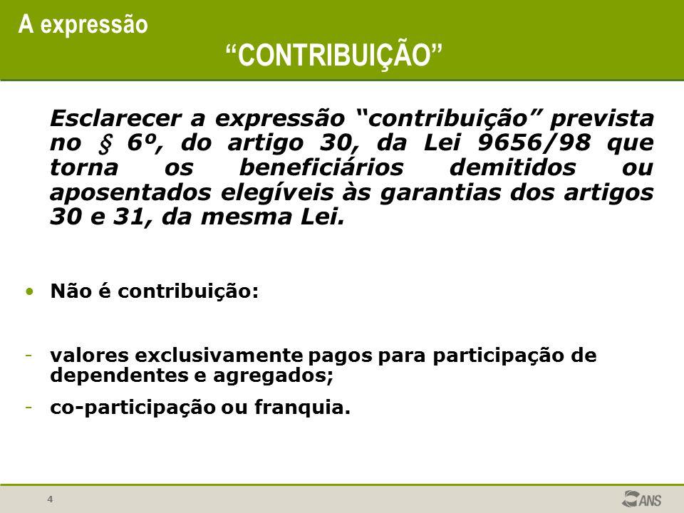 """4 A expressão """"CONTRIBUIÇÃO"""" Esclarecer a expressão """"contribuição"""" prevista no § 6º, do artigo 30, da Lei 9656/98 que torna os beneficiários demitidos"""