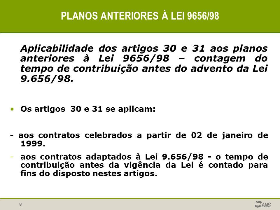 8 PLANOS ANTERIORES À LEI 9656/98 Aplicabilidade dos artigos 30 e 31 aos planos anteriores à Lei 9656/98 – contagem do tempo de contribuição antes do