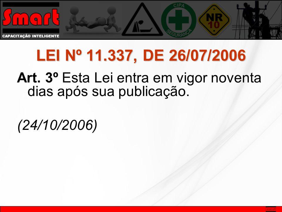 CAPACITAÇÃO INTELIGENTE LEI Nº 11.337, DE 26/07/2006 Art. 3º Esta Lei entra em vigor noventa dias após sua publicação. (24/10/2006)