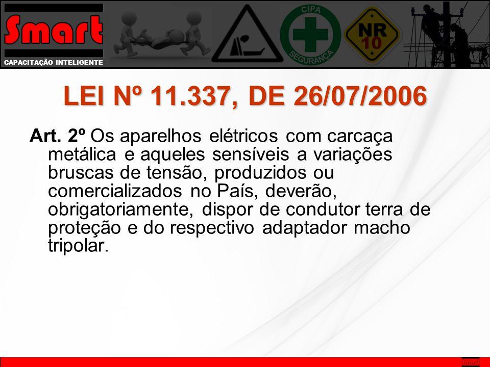 CAPACITAÇÃO INTELIGENTE LEI Nº 11.337, DE 26/07/2006 Art. 2º Os aparelhos elétricos com carcaça metálica e aqueles sensíveis a variações bruscas de te