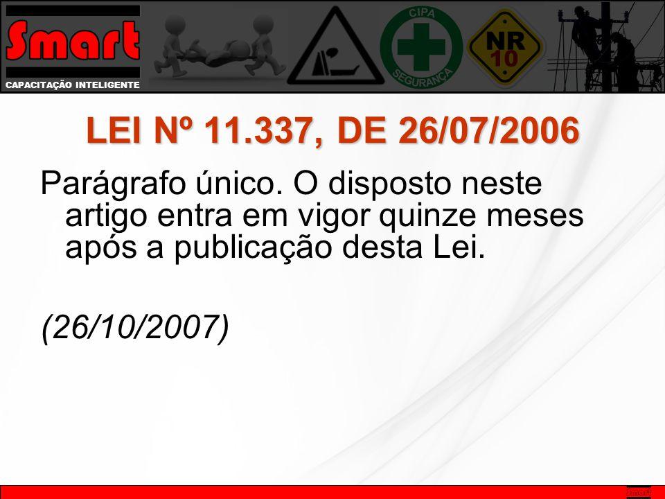 LEI Nº 11.337, DE 26/07/2006 Parágrafo único. O disposto neste artigo entra em vigor quinze meses após a publicação desta Lei. (26/10/2007)