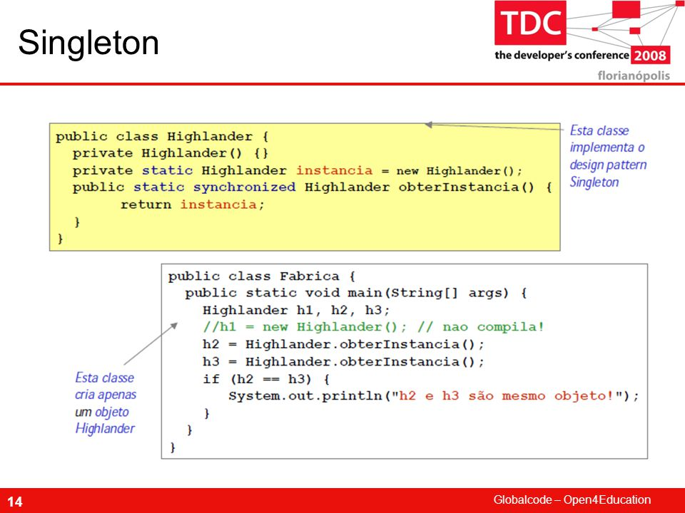 Globalcode – Open4Education 14 Singleton