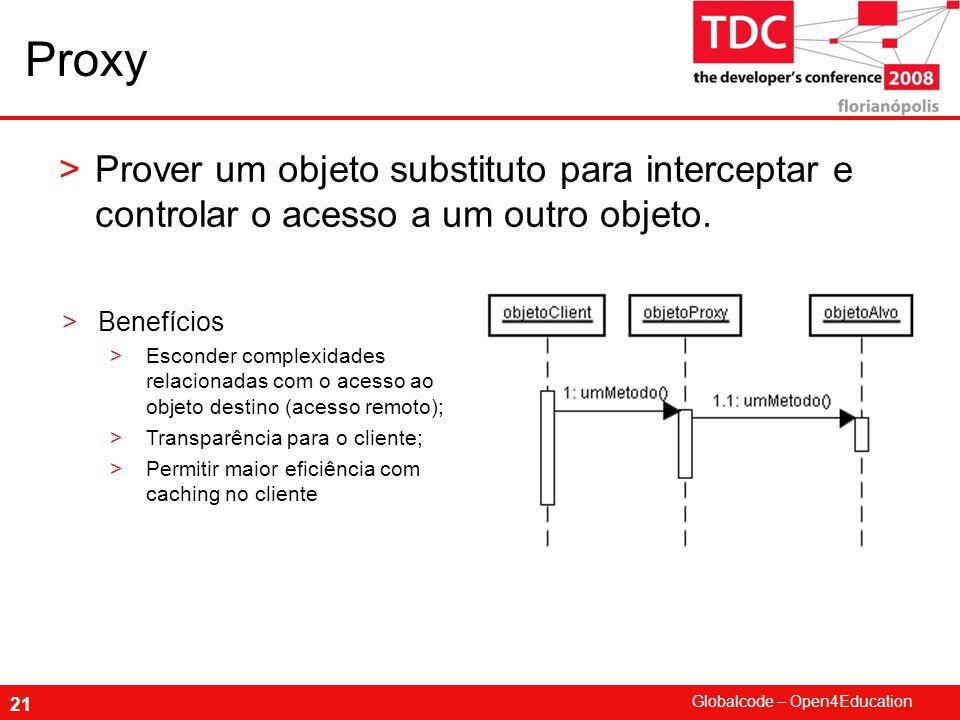 Globalcode – Open4Education 21 Proxy >Prover um objeto substituto para interceptar e controlar o acesso a um outro objeto.
