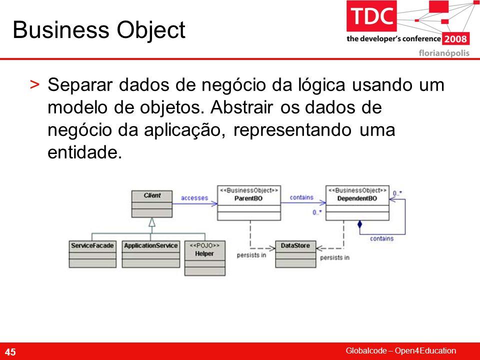 Globalcode – Open4Education 45 Business Object >Separar dados de negócio da lógica usando um modelo de objetos.