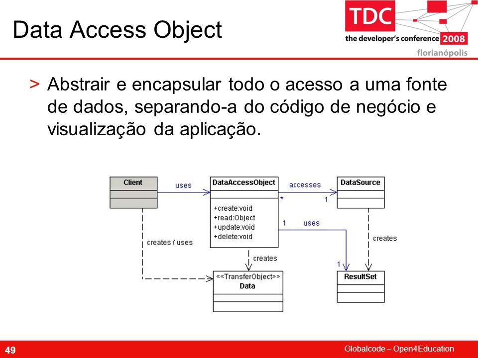 Globalcode – Open4Education 49 Data Access Object >Abstrair e encapsular todo o acesso a uma fonte de dados, separando-a do código de negócio e visualização da aplicação.