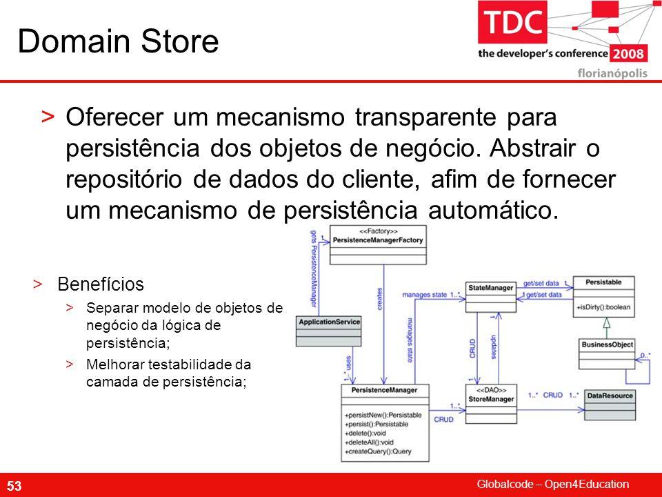 Globalcode – Open4Education 53 Domain Store >Oferecer um mecanismo transparente para persistência dos objetos de negócio.