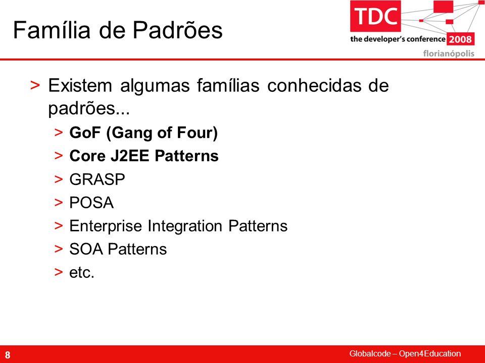 Globalcode – Open4Education 8 Família de Padrões >Existem algumas famílias conhecidas de padrões...