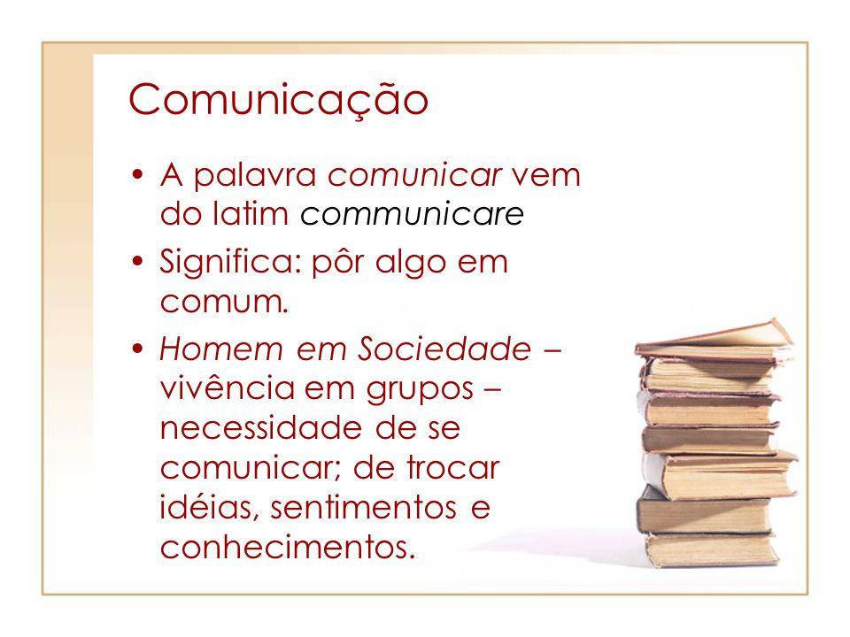 Comunicação A palavra comunicar vem do latim communicare Significa: pôr algo em comum. Homem em Sociedade – vivência em grupos – necessidade de se com