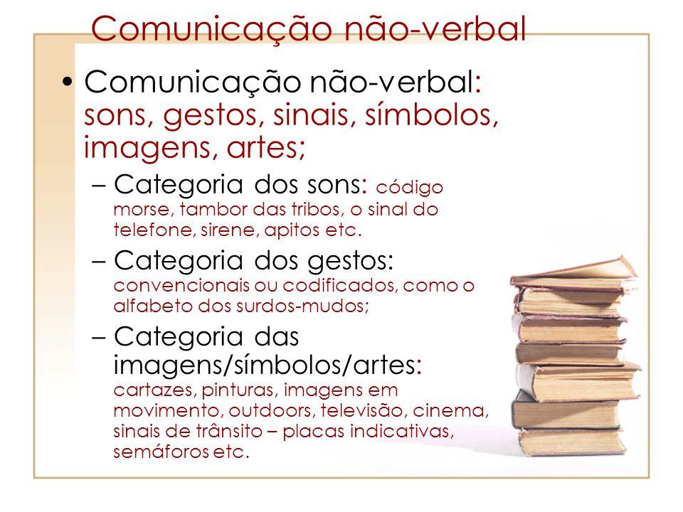 Comunicação não-verbal Comunicação não-verbal: sons, gestos, sinais, símbolos, imagens, artes; –Categoria dos sons: código morse, tambor das tribos, o