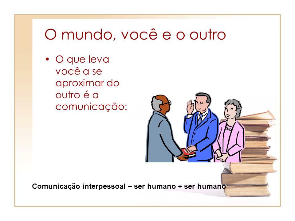 O mundo, você e o outro O que leva você a se aproximar do outro é a comunicação: Comunicação interpessoal – ser humano + ser humano