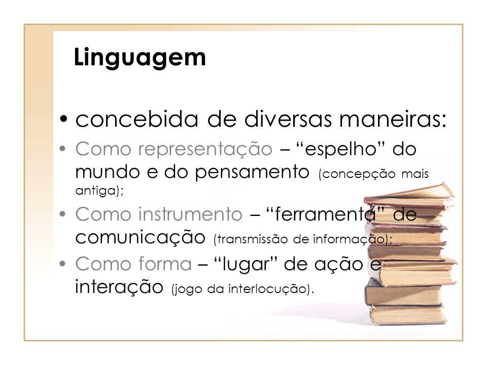 """Linguagem concebida de diversas maneiras: Como representação – """"espelho"""" do mundo e do pensamento (concepção mais antiga); Como instrumento – """"ferrame"""