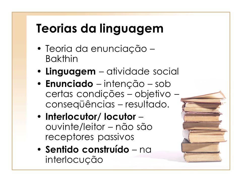 Teorias da linguagem Teoria da enunciação – Bakthin Linguagem – atividade social Enunciado – intenção – sob certas condições – objetivo – conseqüência
