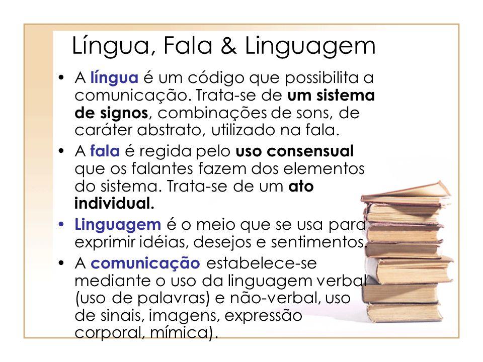 Língua, Fala & Linguagem A língua é um código que possibilita a comunicação. Trata-se de um sistema de signos, combinações de sons, de caráter abstrat