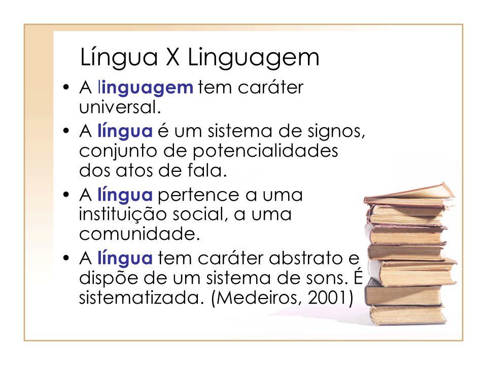 Língua X Linguagem A l inguagem tem caráter universal. A língua é um sistema de signos, conjunto de potencialidades dos atos de fala. A língua pertenc