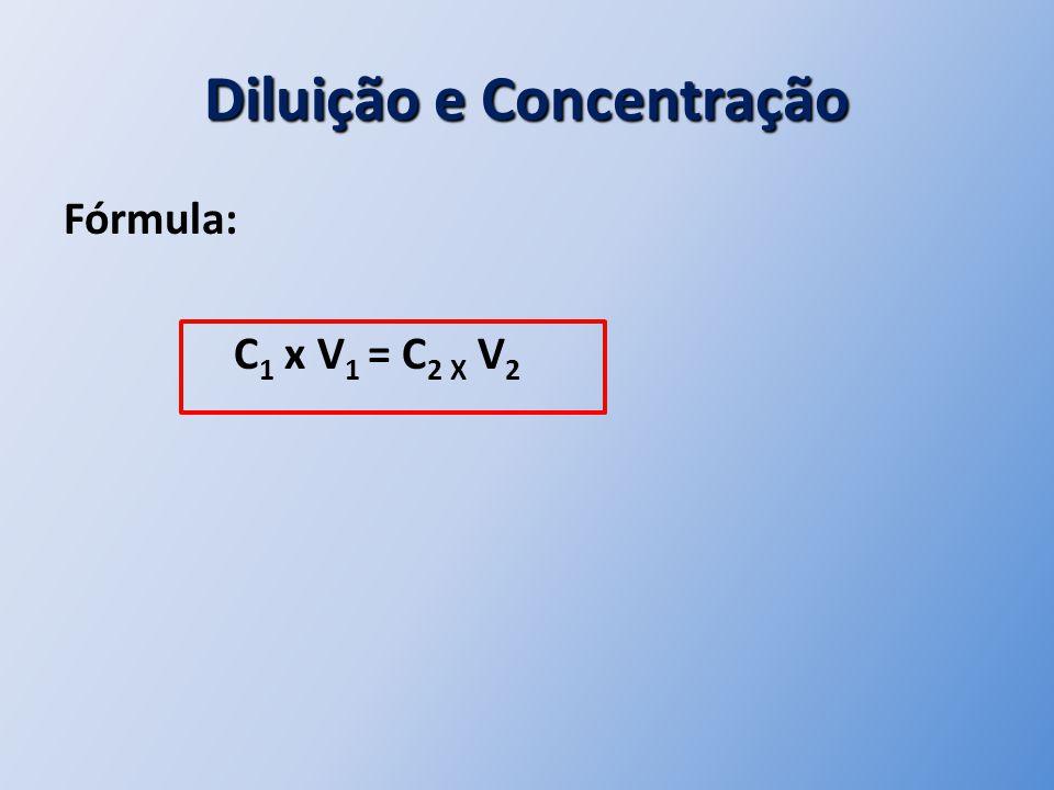 Diluição e Concentração Fórmula: C 1 x V 1 = C 2 X V 2