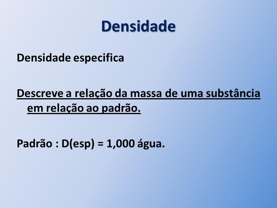 Densidade Densidade especifica Descreve a relação da massa de uma substância em relação ao padrão. Padrão : D(esp) = 1,000 água.