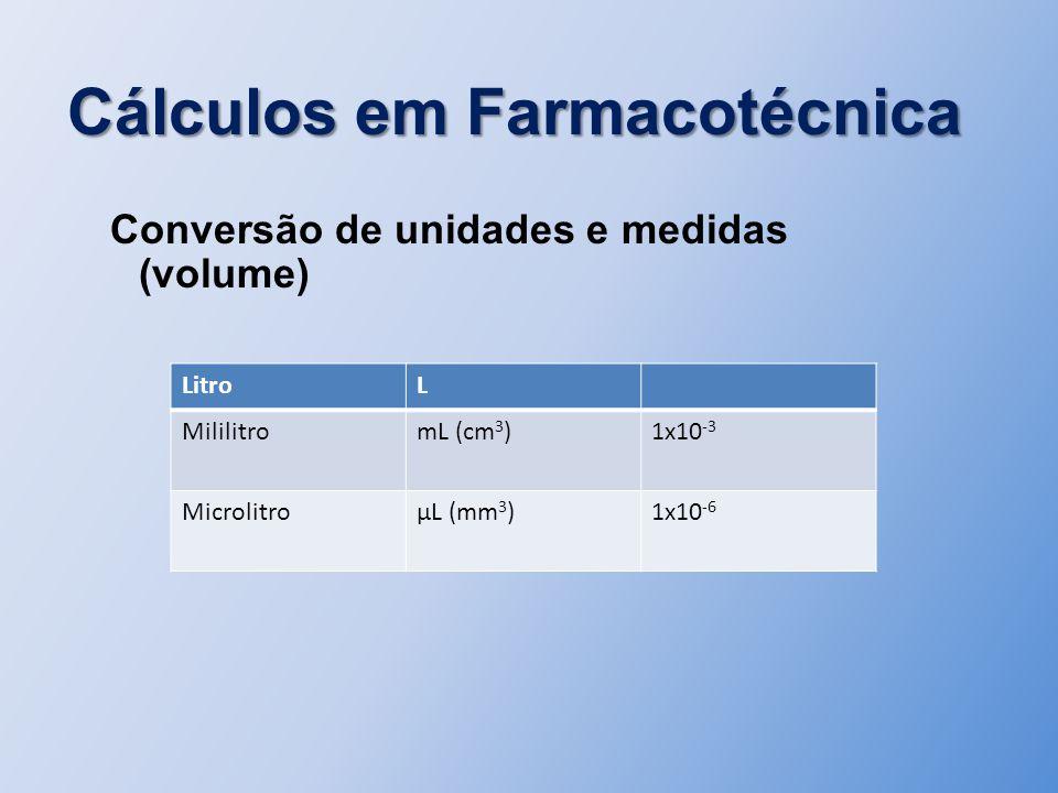 Cálculos em Farmacotécnica Conversão de unidades e medidas (volume) LitroL MililitromL (cm 3 )1x10 -3 MicrolitroµL (mm 3 )1x10 -6