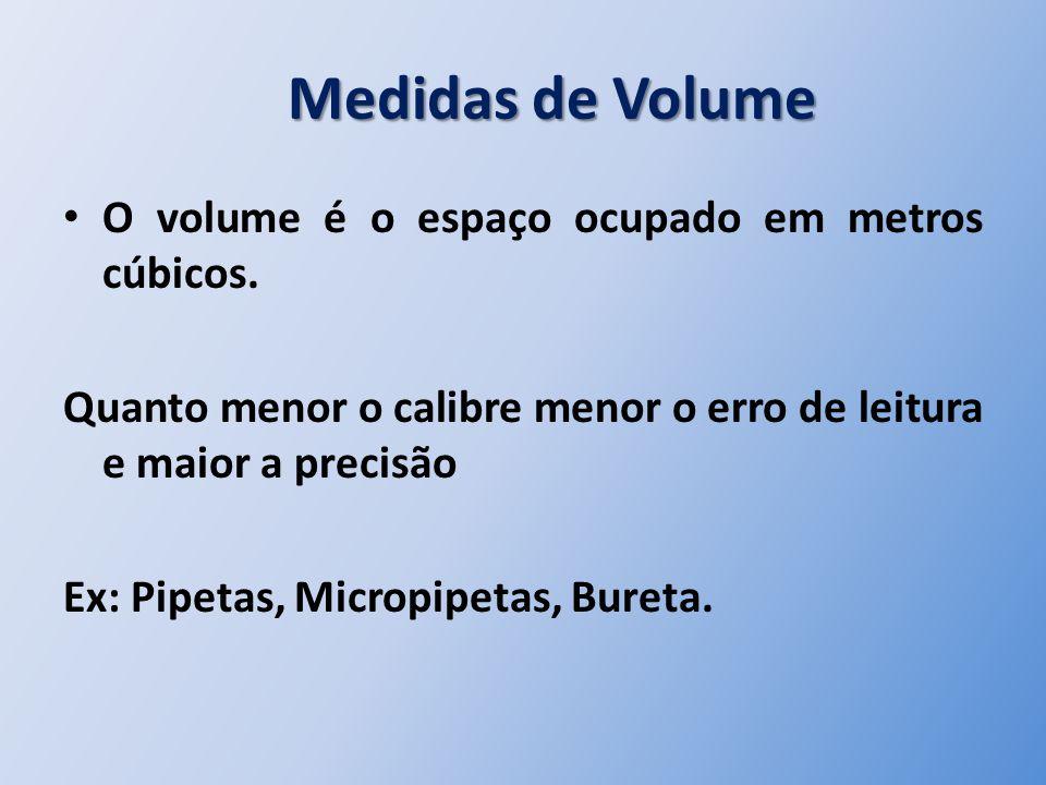 Medidas de Volume Medidas de Volume O volume é o espaço ocupado em metros cúbicos. Quanto menor o calibre menor o erro de leitura e maior a precisão E