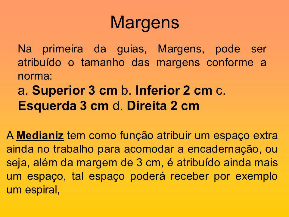 Margens Na primeira da guias, Margens, pode ser atribuído o tamanho das margens conforme a norma: a.
