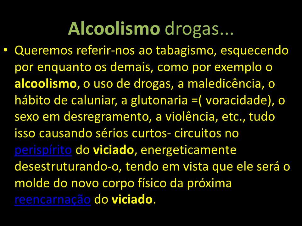 Alcoolismo drogas... Queremos referir-nos ao tabagismo, esquecendo por enquanto os demais, como por exemplo o alcoolismo, o uso de drogas, a maledicên