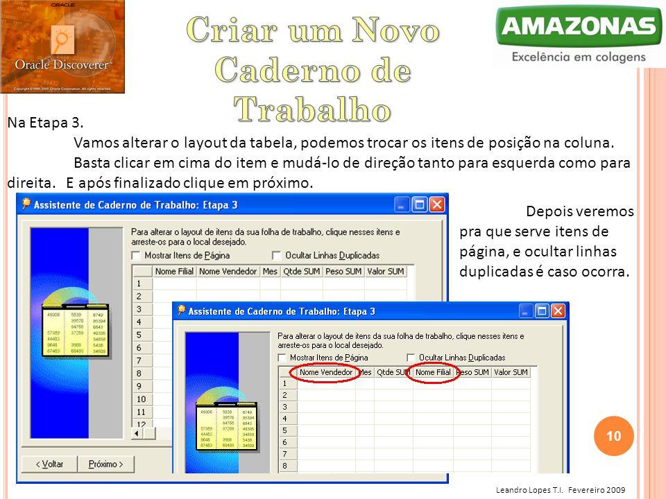 Leandro Lopes T.I. Fevereiro 2009 Na Etapa 3. Vamos alterar o layout da tabela, podemos trocar os itens de posição na coluna. Basta clicar em cima do