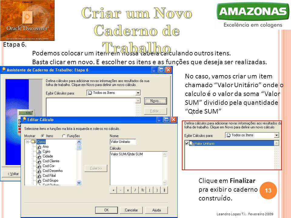 Leandro Lopes T.I. Fevereiro 2009 Etapa 6. Podemos colocar um item em nossa tabela calculando outros itens. Basta clicar em novo. E escolher os itens