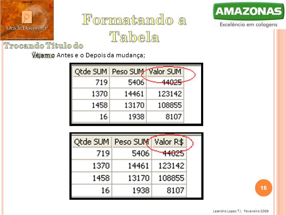 Leandro Lopes T.I. Fevereiro 2009 Vejam o Antes e o Depois da mudança; 16