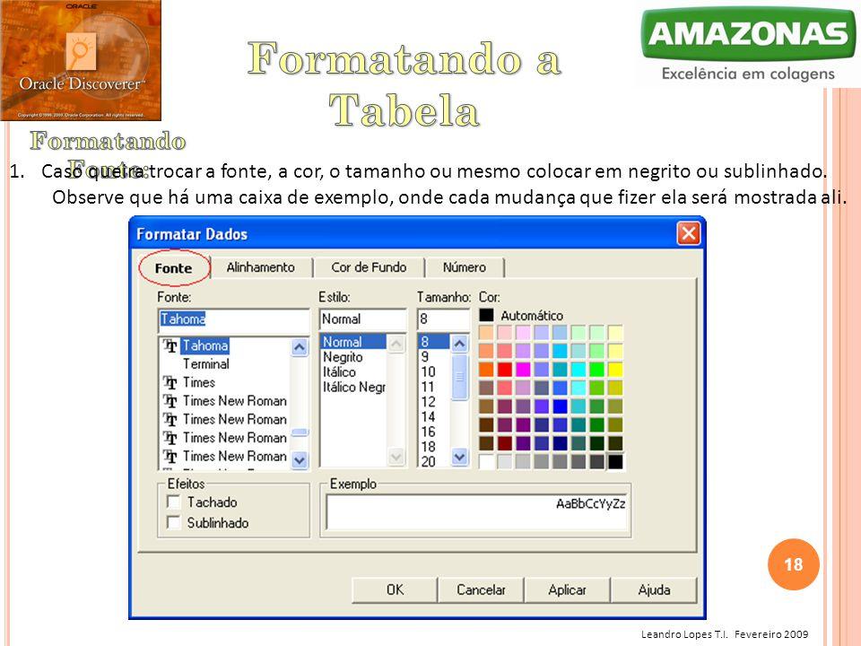 Leandro Lopes T.I. Fevereiro 2009 1.Caso queira trocar a fonte, a cor, o tamanho ou mesmo colocar em negrito ou sublinhado. Observe que há uma caixa d