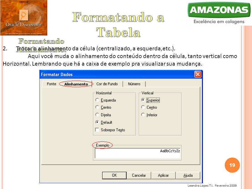 Leandro Lopes T.I. Fevereiro 2009 2. Trocar o alinhamento da célula (centralizado, a esquerda,etc.). Aqui você muda o alinhamento do conteúdo dentro d