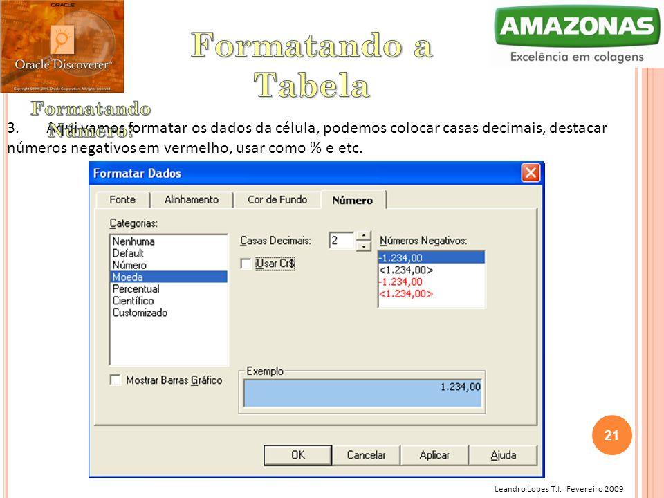 Leandro Lopes T.I. Fevereiro 2009 3. Aqui vamos formatar os dados da célula, podemos colocar casas decimais, destacar números negativos em vermelho, u