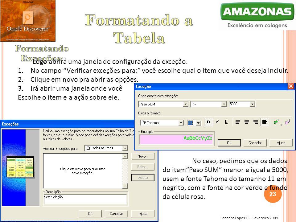 """Leandro Lopes T.I. Fevereiro 2009 Logo abrirá uma janela de configuração da exceção. 1. No campo """"Verificar exceções para:"""" você escolhe qual o item q"""