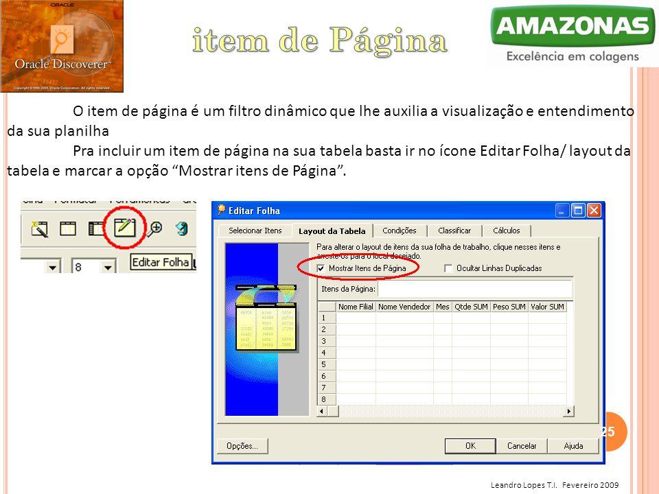 Leandro Lopes T.I. Fevereiro 2009 O item de página é um filtro dinâmico que lhe auxilia a visualização e entendimento da sua planilha Pra incluir um i