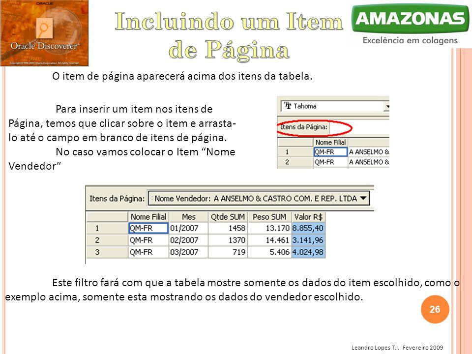 Leandro Lopes T.I. Fevereiro 2009 O item de página aparecerá acima dos itens da tabela. Para inserir um item nos itens de Página, temos que clicar sob