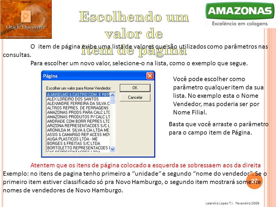 Leandro Lopes T.I. Fevereiro 2009 O item de página exibe uma lista de valores que são utilizados como parâmetros nas consultas. Para escolher um novo