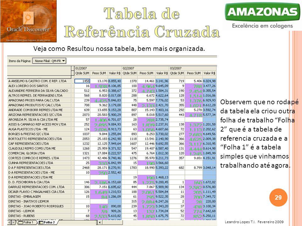 Leandro Lopes T.I. Fevereiro 2009 Veja como Resultou nossa tabela, bem mais organizada. Observem que no rodapé da tabela ela criou outra folha de trab