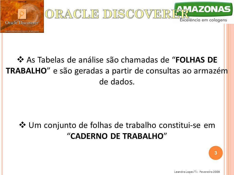 """Leandro Lopes T.I. Fevereiro 2009  As Tabelas de análise são chamadas de """"FOLHAS DE TRABALHO"""" e são geradas a partir de consultas ao armazém de dados"""