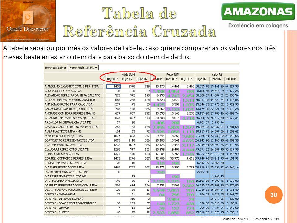 Leandro Lopes T.I. Fevereiro 2009 A tabela separou por mês os valores da tabela, caso queira comparar as os valores nos três meses basta arrastar o it