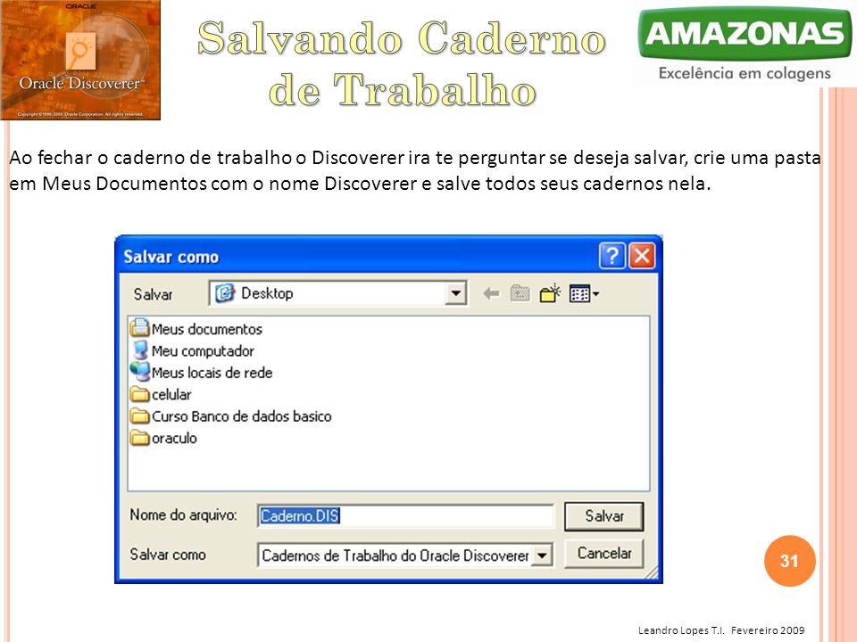 Leandro Lopes T.I. Fevereiro 2009 Ao fechar o caderno de trabalho o Discoverer ira te perguntar se deseja salvar, crie uma pasta em Meus Documentos co