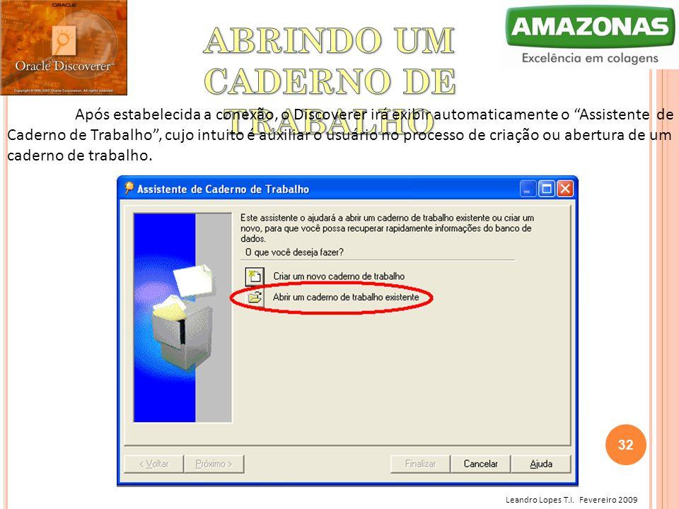 """Leandro Lopes T.I. Fevereiro 2009 Após estabelecida a conexão, o Discoverer irá exibir automaticamente o """"Assistente de Caderno de Trabalho"""", cujo int"""