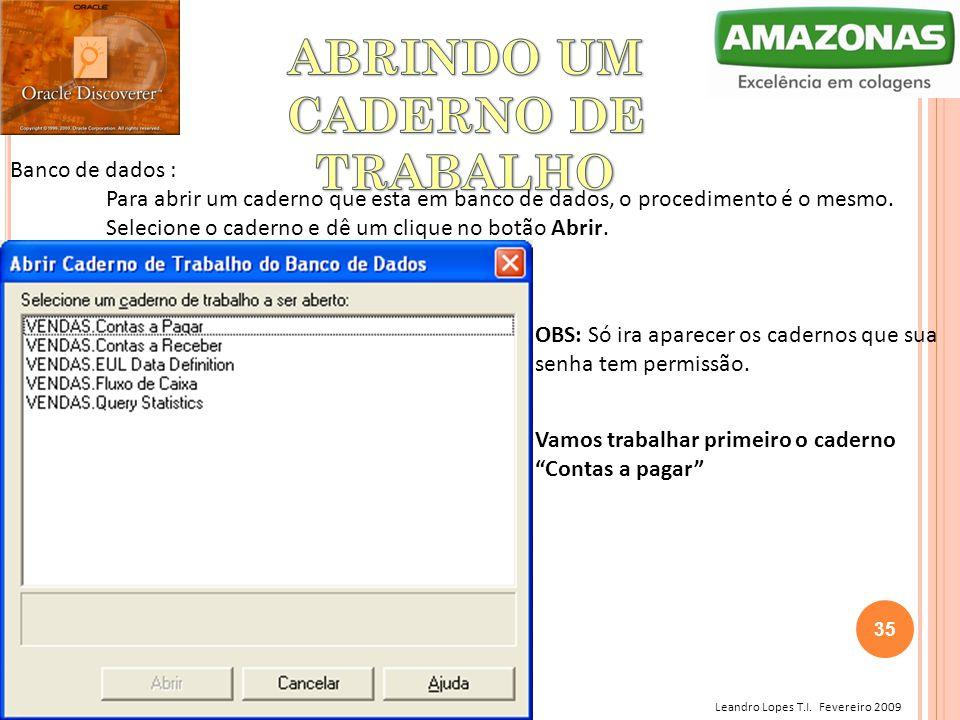 Leandro Lopes T.I. Fevereiro 2009 Banco de dados : Para abrir um caderno que esta em banco de dados, o procedimento é o mesmo. Selecione o caderno e d