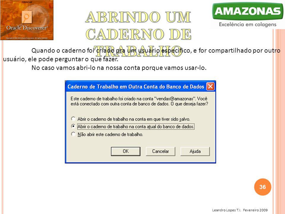 Leandro Lopes T.I. Fevereiro 2009 Quando o caderno foi criado pra um usuário especifico, e for compartilhado por outro usuário, ele pode perguntar o q