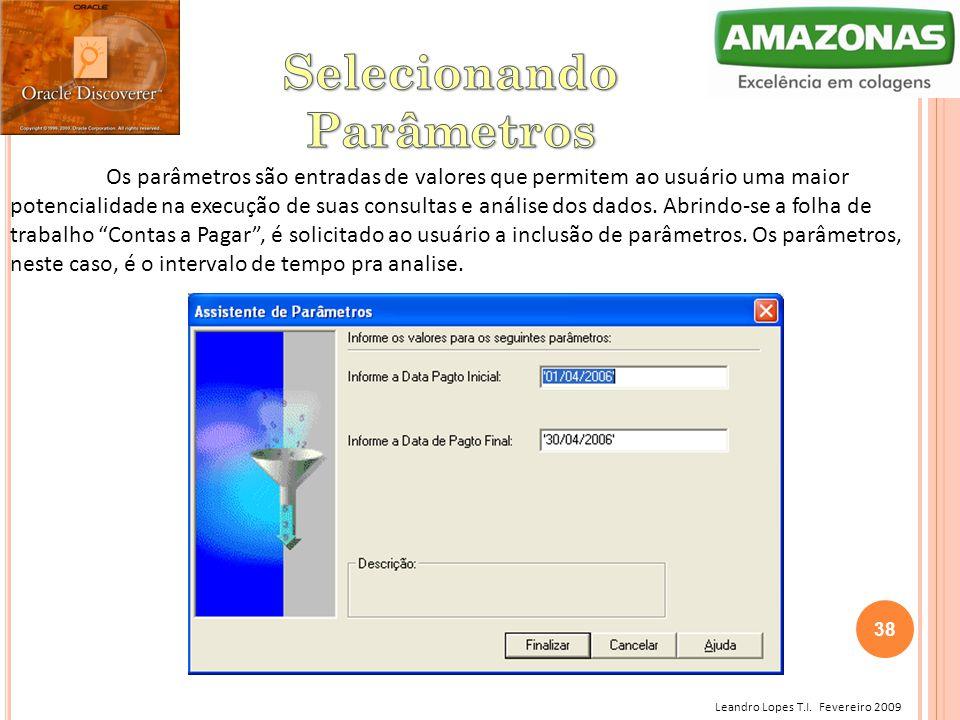 Leandro Lopes T.I. Fevereiro 2009 Os parâmetros são entradas de valores que permitem ao usuário uma maior potencialidade na execução de suas consultas